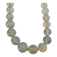 Graduated Opalescent Glass Beaded Necklace Sterling Silver Clasp