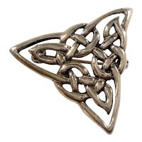 Triangular Sterling Silver Celtic Knot Brooch