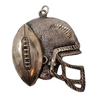 Textured Sterling Silver Football Helmet With Football Pendant