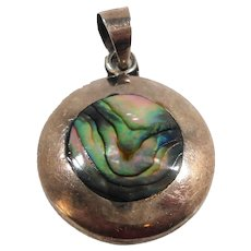 Round Abalone Shell Sterling Silver Mexico Pendant