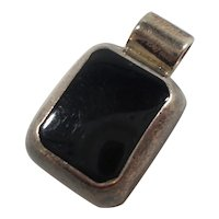 Rectangular Black Inlaid Stone Sterling Silver Pendant