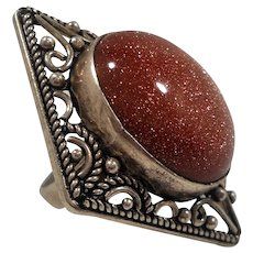 Bold Dimensional Oval Genuine Goldstone Sterling Silver Statement Ring