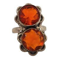 Scalloped Sterling Silver Flower Shaped Round Orange Glass Stones Ring Size 7.5