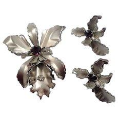 Dimensional Orchid Flowers Purple Rhinestone Brooch Screw On Earring Set Signed Prestige