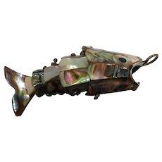 Dimensional Articulated Abalone Silvertone Metal Fish Pendant