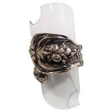Ornate Reed Barton Sterling Silver Spoon Ring Adjustable Size 7