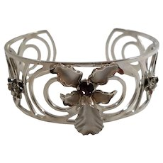 Dimensional Orchid Flower Purple Rhinestone Silvertone Cuff Bracelet