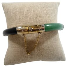Genuine Stone Jade Green Pink White Black Goldtone Metal Hinged Bangle Bracelet