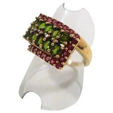 Rectangular Shaped Pink Green Tourmaline Gemstones 10K Gold Ring Size 9