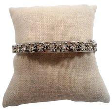 Clear Rhinestones Silvertone Metal Bangle Bracelet