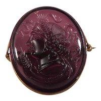 Oval Shaped Purple Glass Cameo Goldtone Metal Brooch