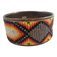 Multi Colored Glass Beaded Metal Bangle Bracelet Made in India