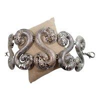 Ornate Wide Silvertone Metal Link Bracelet