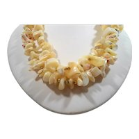 Chunky Mother of Pearl Nuggets Single Stand Necklace