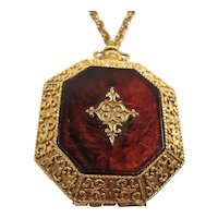 Max Factor Textured Goldtone Metal Powder Compact Pendant Necklace