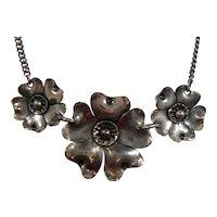 Sterling Silver  Flower Choker Necklace ALA