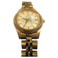 Citizens Quartz Goldtone Metal Wristwatch Holy Mother Virgin Mary  Not Working