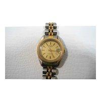 Speidel Goldtone Silvertone Metal Quartz Ladies Wristwatch Working