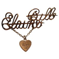 Elaine & Bill Script Wire Names Scatter Pins Chatelaine Heart Charm