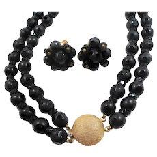 Schiaparelli French Jet Black Polka Dot Glass Beads Double Strand Necklace Clip On Earring Set