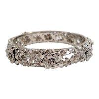 Dimensional Repousse Pierced Floral Sterling Silver Bangle Bracelet Thailand