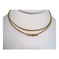 14K Gold Rope Chain Necklace 25 Inches Long