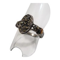 Oval Shaped Genuine Marcasite Stones Sterling Silver Ring Size 7