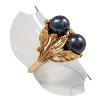 14K Gold Etches Leaves Two Black Cultured Pearls Ring Size 9