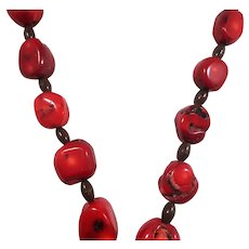 Chunky Genuine Red Bamboo Coral Nuggets Beaded Necklace