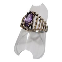 Marquise Shaped Genuine Amethyst Sterling Silver Ring Size 8
