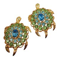 Pair of Pastel Blue Green Rhinestone Turtle Scatter Pins Stamped LIA