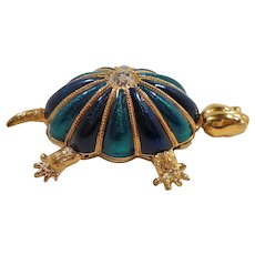 Hutton Wilkinson Dimensional Articulated Enameled Rhinestone Turtle Brooch