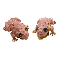 Pink Polka Dotted Enameled Frogs Goldtone Metal Clip On Earrings