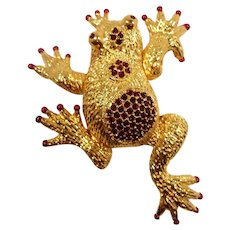 Hutton Wilkinson Large Articulated Red Rhinestone Prince Frog Brooch