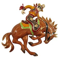 Bob Mackie Dimensional Enameled Cowboy Riding Horse Brooch