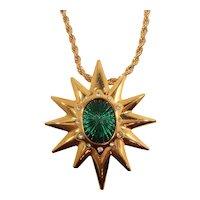 Hutton Wilkinson Goldtone Metal Green Starburst Pendant Brooch Necklace