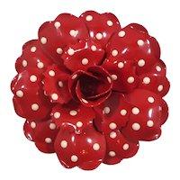 Joan Rivers Dimensional Red Enamel Polka Dot Rose Brooch