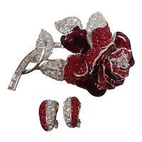Nolan Miller Red Rhinestone Rose Brooch Earring Set