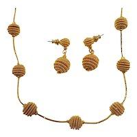 Textured Goldtone Metal Beaded Cobra Chain Necklace Dangle Pierced Earring Set