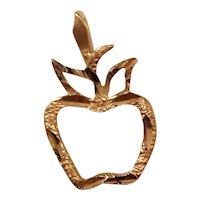 14K Yellow Gold Dainty Etched Apple Charm or Pendant