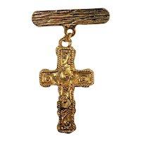 Dangle Textured Goldtone Metal Cross Brooch  NOS New Old Stock