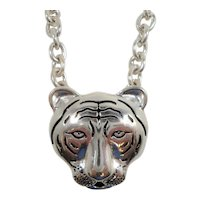 Chunky Textured Silvertone Metal Tiger Head Necklace