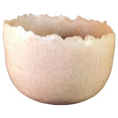 Artist Made Jagged Edge Porcelain Art Pottery Eggshell bowl signed c1970's