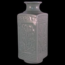 Celadon Square Vase Flowers of the Seasons or Four Gentlemen  Chinese- Early 20th Century