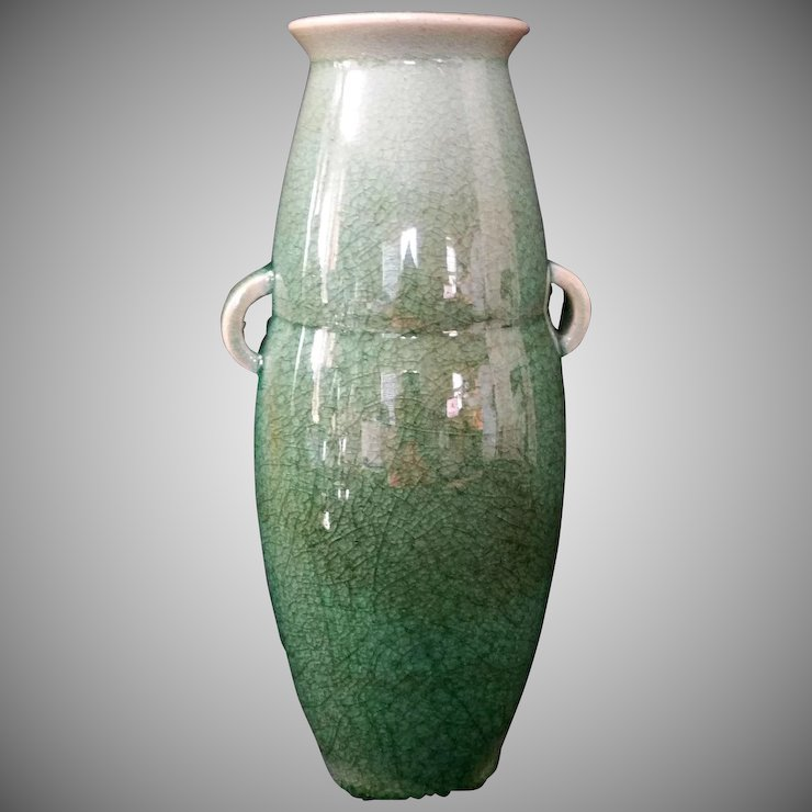 Antique Caledon Crackle Glaze Vase Urn With Handles Marked The 7