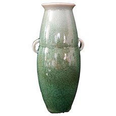 Antique Caledon Crackle glaze Vase Urn with handles Marked