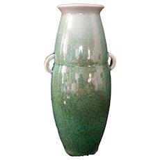 Antique Caledon Crackle glaze Vase Urn with handles Marked