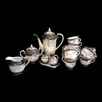 Moriage Dragonware Demitasse Tea Set for 8 - 20 plus pieces 1940's Fleetwood