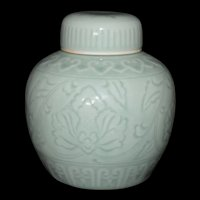 Mid Century Modern Lotus Flower Incised Celadon Ginger Jar marked