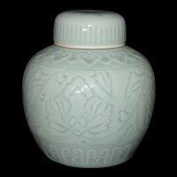 Mid Century Modern Lotus Flower Incised Celadon Ginger Jar marked
